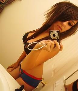 Hot brunette emo teen shows her hot body.
